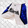 FIGHT-FIT - Muay Thai Shorts / Weiss-Blau / XL